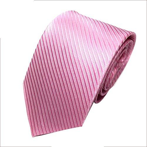 Herren Krawatten SOMESUN Mens-klassischer Jacquardwebstuhl gesponnene gestreifte Krawatte Bindungs Party Hochzeits Krawatte (rosa)