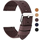 Fullmosa 5 Colors Quick Release 22mm Watch Strap Leather, Breeze Calf Leather Band Watch Strap 18mm 20mm 22mm 24mm, 22mm Coffee