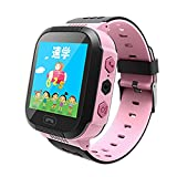 'Appareil GPS Tracker Kids Smart Horloge avec flash 1.44 Touch Screen SOS Call Location Finder Tracker Enfant Kid Safe Anti Lost Moniteur Watch T08, Rosa