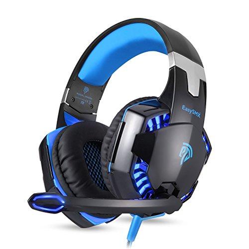 EasySMX Noise-Cancelling-Kopfhörer, G2000 Stereo Gaming Headset für PS4, Neue Xbox One, Bass-Over-Ear-Kopfhörer mit Mikrofon, LED-Licht und Lautstärkeregelung für Laptop, PC