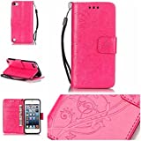 Coque Etui pour iPod Touch 5/6,iPod Touch 5/6 Lanyard Strap Coque Dragonne Carrying Portable Etui,Funyye Elegant Slim [Papillon Fleur Gaufré] Embossed Coque de Protection en Cuir Folio Housse PU Cuir Portefeuille Relief papillon Coque Housse Case Cover Coquille Couverture avec Fonction Stand et Fentes de Carte de Crédit pour iPod Touch 5/6 + 1x Gratuit Protecteur D'écran - Chaud Rose