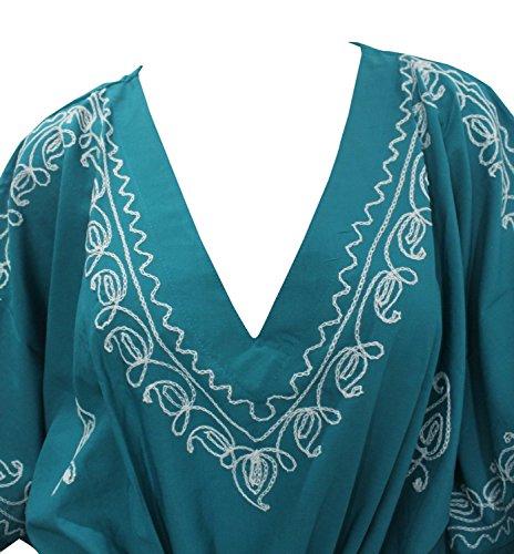 La Leela alle in 1 Damen Rayon Partei Cocktail Tunika Bikini bestickte verschleiern oben Vintage-Kleider Badebekleidung Kordel Nachthemden tiefer Ausschnitt langes Abendkleid Kaftan Frauen Türkis