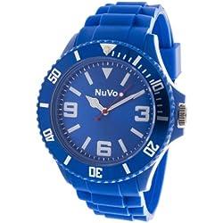 Nuvo - NU13H02 - Unisex Armbanduhr - Quartz - Analog - Blaues Zifferblatt - Blaues Armband aus Silikon - Modisch - Elegant - Stylish