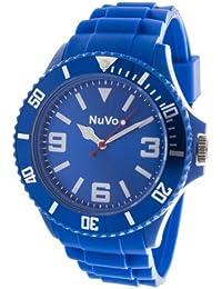 NuVo - NU13H02 - Reloj tendencia analogico de Cuarzo Mixto - Esfera Azúl - Brazalete de silicona Azúl