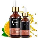 MayBeau Vitamin C Serum 60 ml mit Hyaluronsäure 30ml AntiAging + Anti Falten + Bio Kollagen Booster Gesichtsserum reduzieren dunkle Kreise, feine Linien und Sonnenschäden
