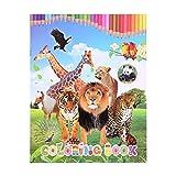 YeahiBaby Libro de Colorear de Mundo de Animales León Tigre Leopardo Jirafa Panda Caballo Pavo Real para Niños Jugute Educativo Reglo
