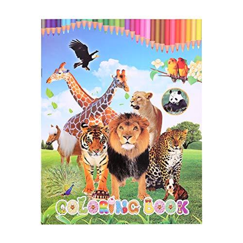 YeahiBaby Libro de Colorear de Mundo de Animales León Tigre Leopardo Jirafa...