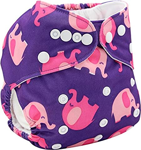 OHBABYKA Printed Design Reuseable Washable Pocket Cloth Diaper with a Insert (Elephant-02)