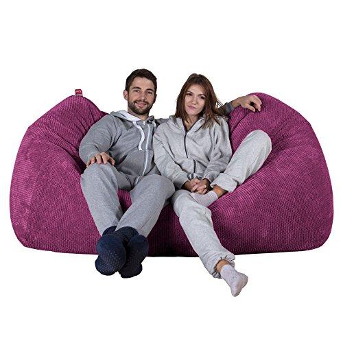 Lounge Pug®, Riesen Sitzsack Couch, Sitzsack Sofa, Pom-Pom Pink