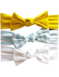 Voberry@ Baby-Girl's 3Pcs Cotton Headband Soft Elastic Bowknot Accessories Hairband Set