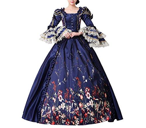 Nuoqi Damen Kleid Mittelalterliche Viktorianisches mit Underskirt Palace Royal Masquerade Prom Kostüm (34, CC3085A-NI)