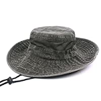 Thenice Unisex Cotton Sun Cap Outdoor Bucket Mesh Boonie Hat 3