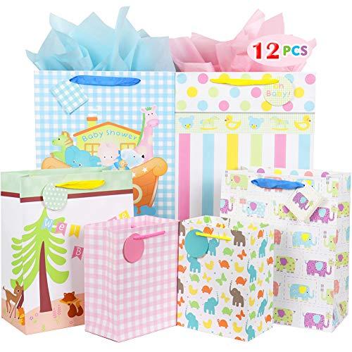 Geschenktüte Bulk mit Henkel und Anhänger Geburtstag Hochzeit Baby Shower Geschenktüten Set verschiedene Größen Papiertüten für Kinder, Jungen, Grils, Frauen, Männer, Brautparty, Feiern und Partys