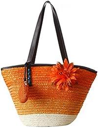 TOOGOO(R) Knitted Straw Bag Summer Flower Bohemian Fashion Women's Handbags Color Stripes Shoulder Bags Beach... - B01MDLETDG