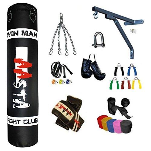 Aasta sacco da boxe imbottito, 30-35 KG, adatto per Kick Boxing, con staffa per installazione parete e guanti, manici, corda per saltare & mini guanti