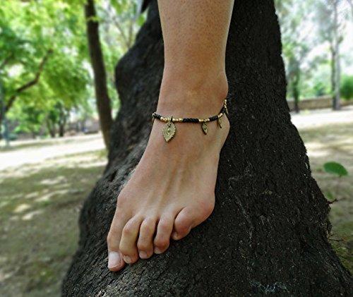 Tobillera de moda para mujer boho hippie chic tribal con abalorios de la India y medida ajustable.
