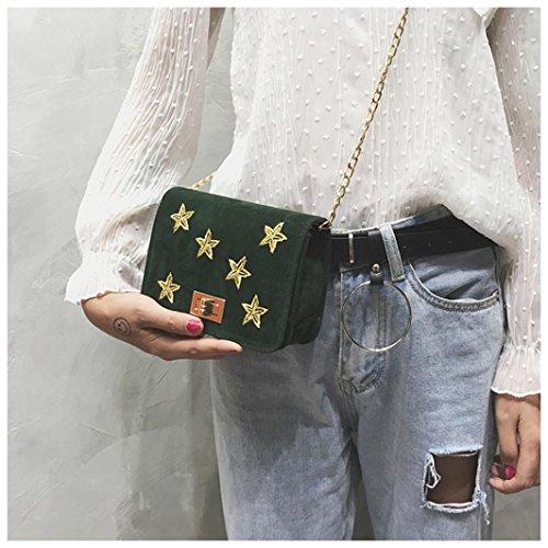 BZLine® Frauen Velour Star Printing Handtasche Crossbody Schultertaschen Grün