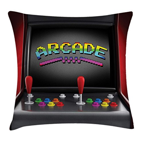 Video Games Throw Pillow Cushion Cover, Arcade Machine Retro Gaming Fun Joystick Buttons Vintage 80's 90's Electronic, Decorative Square Accent Pillow Case, 18 X 18 Inches, Multicolor