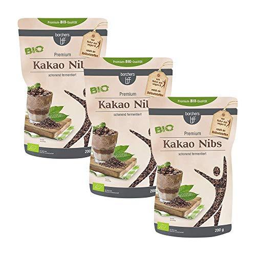 3 x borchers Bio Kakaonibs | Bio-Qualität | Roh | Von Natur aus Vegan | Schonend fermentiert | 200 g