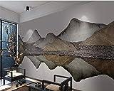 HONGYAUNZHANG Schwarz Und Weiß Bergspitze Benutzerdefinierte Fototapete 3D Stereoskopische Wandbild Wohnzimmer Schlafzimmer Sofa Hintergrund Wandbilder,260Cm (H) X 340Cm (W)