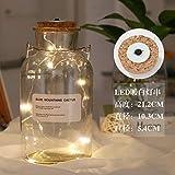 Kreative leuchtende LED-Schnur Wunschflasche Glasflasche Basteln Dekoration Reagenzflasche Glückssternchen Solar-Tank Lampe 1000ml (weiß) warmweiße LED-Schnur)