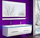 Weiss 120 cm Badmöbel Set Waschbecken Spiegel und Ablage Vormontiert Badezimmermöbel...