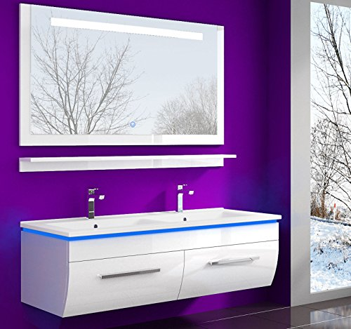 Badmöbel Set Waschbecken Spiegel und Ablage Vormontiert Badezimmermöbel Doppelwaschbecken Weiss 120 cm LED Hochglanz lackiert Homeline1
