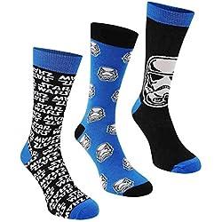 Calcetines altos para hombre, con diseño de Star Wars, tallas 39 a 45, 3 pares Azul Blue/Black 7-11 UK / 41-45 EU