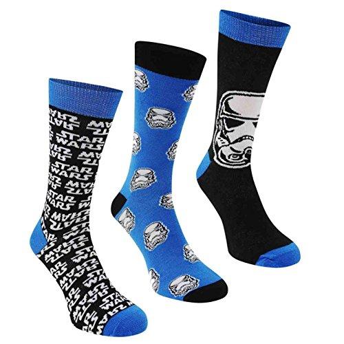 Lot de 3paires de chaussettes pour homme ou garçon aux personnages de la marque officielle Disney Star Wars Episode 7 - Bleu -