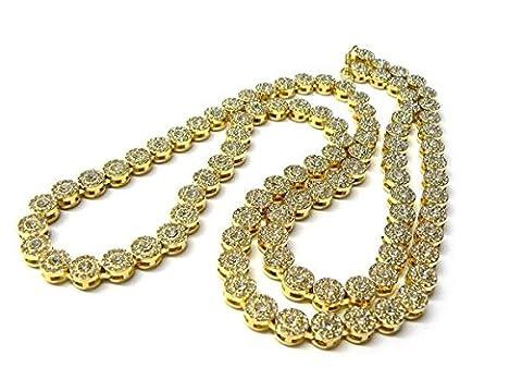 Premium 14K vergoldet Iced Out Sunflower Flower Cluster Hip Hop Bling Kette Halskette