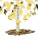 Relaxdays 10021763 Cannone Spara-Coriandoli, 40 cm, Stelle, Oro, Gittata 6-8 m, Matrimoni, Compleanno, Carnevale