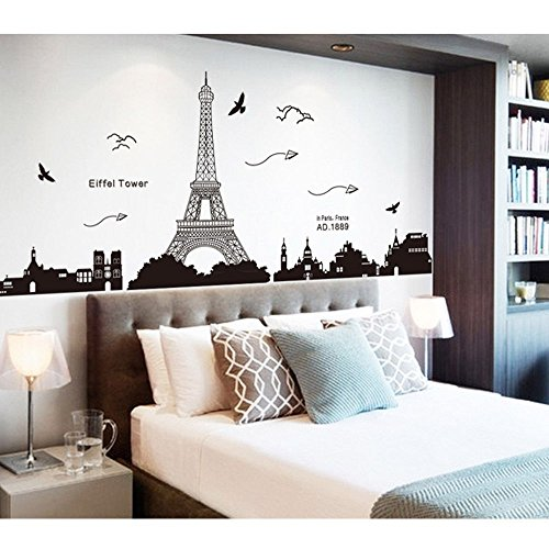 Pegatina de pared vinilo adhesivo decorativo para cuartos, dormitorio,cocina, ... vista de Paris Torre Eiffel Color Negro OPEN BUY