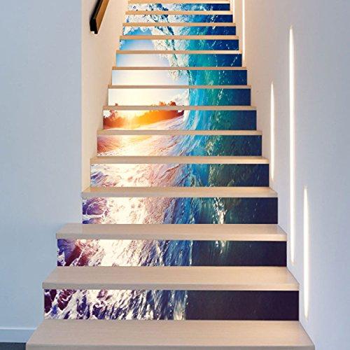 QTZS 3D Surf Stairs Kreative Startseite DIY Renovierung Dekorative Wandaufkleber,13pcs