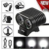 LHWY 8000 Lumen 2x XM-L2 LED Fahrradlampe Fahrrad Kopf Scheinwerfer + Rücklicht