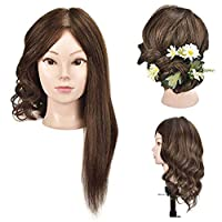 "18"" Training Head 100% Human Hair Mannequin Head Manikin Doll Head Hair Styling Head with Free Clamp"