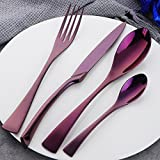 Buyer Star 4 pcs Inox Couverts Vaisselle de luxe en acier inoxydable Coutellerie Set d'ustensiles Violet Argenterie Couteau à steak et Fourchette