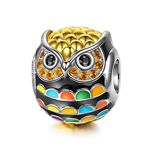NINAQUEEN Charm für Pandora Charms Armband Geschenk für Frauen Weihnachten Eulen Tiere Silber 925 Perlen