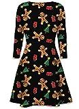 Damen der Frauen mit Langen Ärmeln Olaf Santa Geschenke Glocken Lebkuchen-Weihnachtsweihnachts druckte Neuheit Ausgestelltes Swing-Kleid Top in Übergrößen (XL 44-46, Gingerbread Present Tree)
