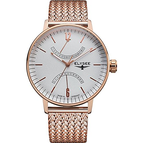 ELYSEE Men's Sithon 42mm Rose Gold Plated Bracelet & Case Sapphire Crystal Quartz Grey Dial Watch 13290M