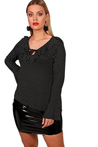 Noir Femmes Plus Hayley Polka Dot Ruffle Smock Top Noir
