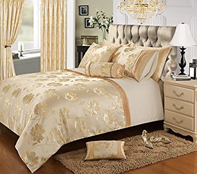 Home Bedding Store Premium Super King Size Luxury Jacquard Gold / Cream Floral Bedding Set Duvet / Quilt Cover Set