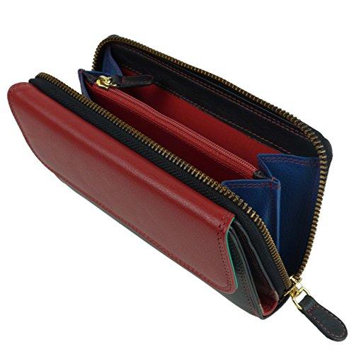 Borsa/portafogli in pelle con zip, da donna, multicolorata, da Golunski multicolore Blue Multi Multicolore/rosso