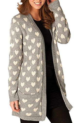 ARAMONIAT ® Ladies Open Knitted Boyfriend 2 Pocket All Over Multi Hearts PLUS SIZE Cardigans Tops UK SIZE 8-22