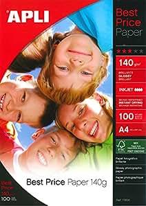 Agipa Pochette de 100 feuilles papier photo brillant 140g A4