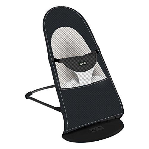ZJM-Deckchairs Sommer Klapp Baby Schaukelstuhl Mesh Gridding Tuch Beruhigen Stuhl Liegestuhl Kinder Coax Couch Safe Cradle (Farbe : Schwarz)