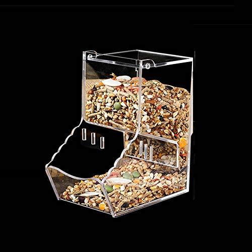 Caja de comida para pájaros antiscatter semillas dispensador automático de alimentador de juguete para loro, periquito, cacatúa, cono de pájaros, pájaros, pájaros de pájaros africanos, gris, arena, chinchilla, cobaya, jaula