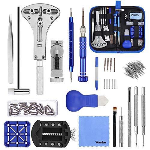 Vastar 177pcs kit riparazione orologi, kit attrezzi orologiaio per fai da te orologi, utensili per orologio riparazione,dispositivo di rimozione del portable kit orologiaio
