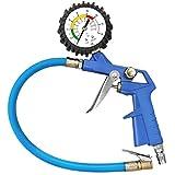 Mture Reifenfüller, Reifenfüll-Messgerät 3 in 1 Reifendruckmessgerät mit Kupplungssystem 16bar Luftdruckprüfer für Fahrradventil und Autoventil (Blau)