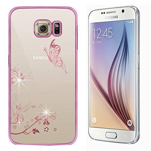 iPhone 5S/SE/6S/6S Plus/Samsung Galaxy S6 EDGE/S7 Edge Cover, Custodia elegante rivestimento modello, yingc T dura trasparente PC coperchio posteriore con Bling Strass Diamante Custodia trasparente Cu Rosa,Schmetterling