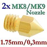 2x MK8 MK9 Präzisions 3D Drucker Düse Messing 0,3mm